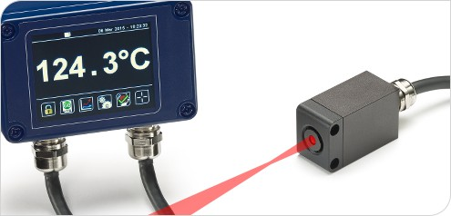 The new PyroCube precision pyrometer, with fast 10ms response time, 1.6mm measured spot size, continuous LED sighting and a tocuh screen interface