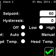 PyroMini Alarm Settings Screen