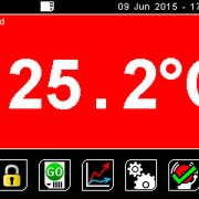 PyroMini Main Screen (red background shows alarm condition)