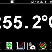 FibreMini main screen. Temperature turns red in alarm condition