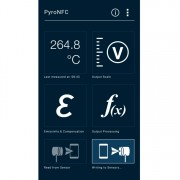 Main screen of the PyroNFC pyrometer app, showing the measured temperature and configuration menus.